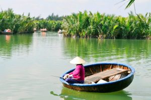 Round boat at Bay Mau Coconut Palm Forest